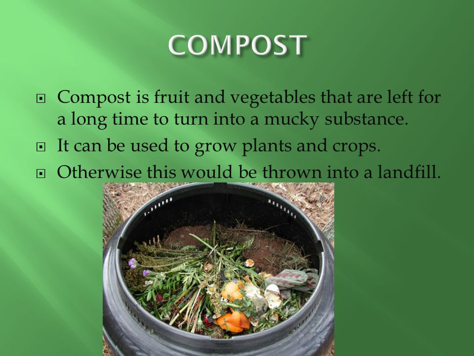 COMPOST Compost is fruit and vegetables that are left for a long time to turn into a mucky substance.