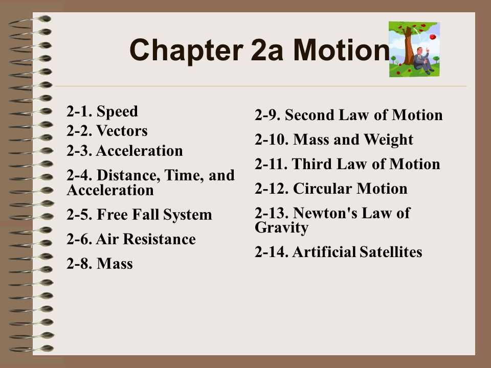 Chapter 2a Motion 2-1. Speed 2-2. Vectors 2-9. Second Law of Motion