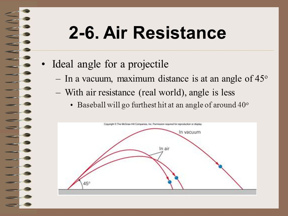 2-6. Air Resistance Ideal angle for a projectile