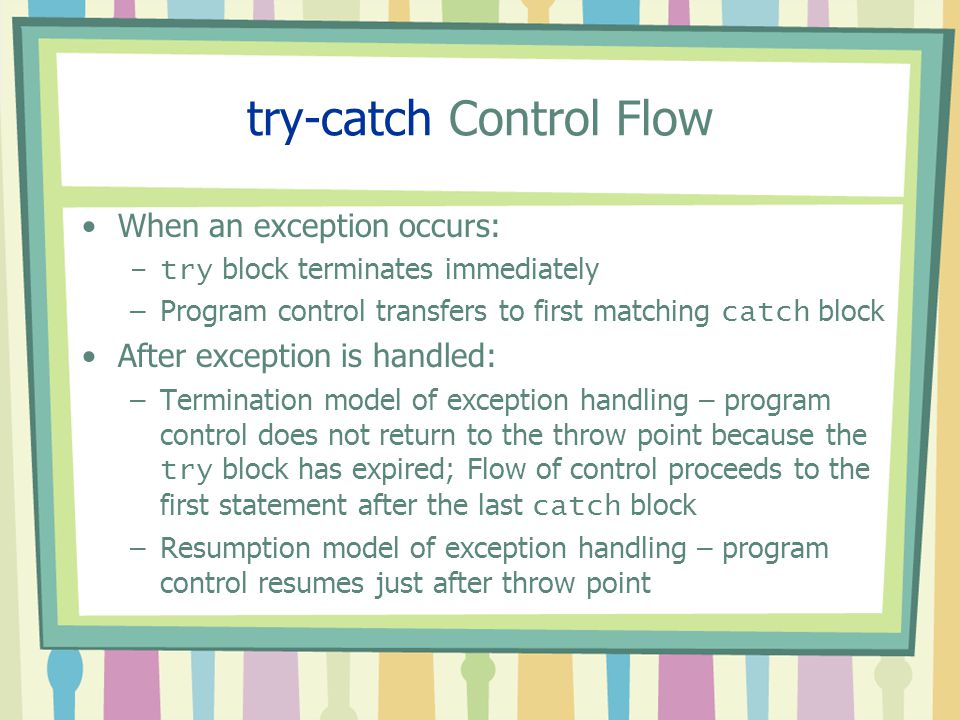 try-catch Control Flow