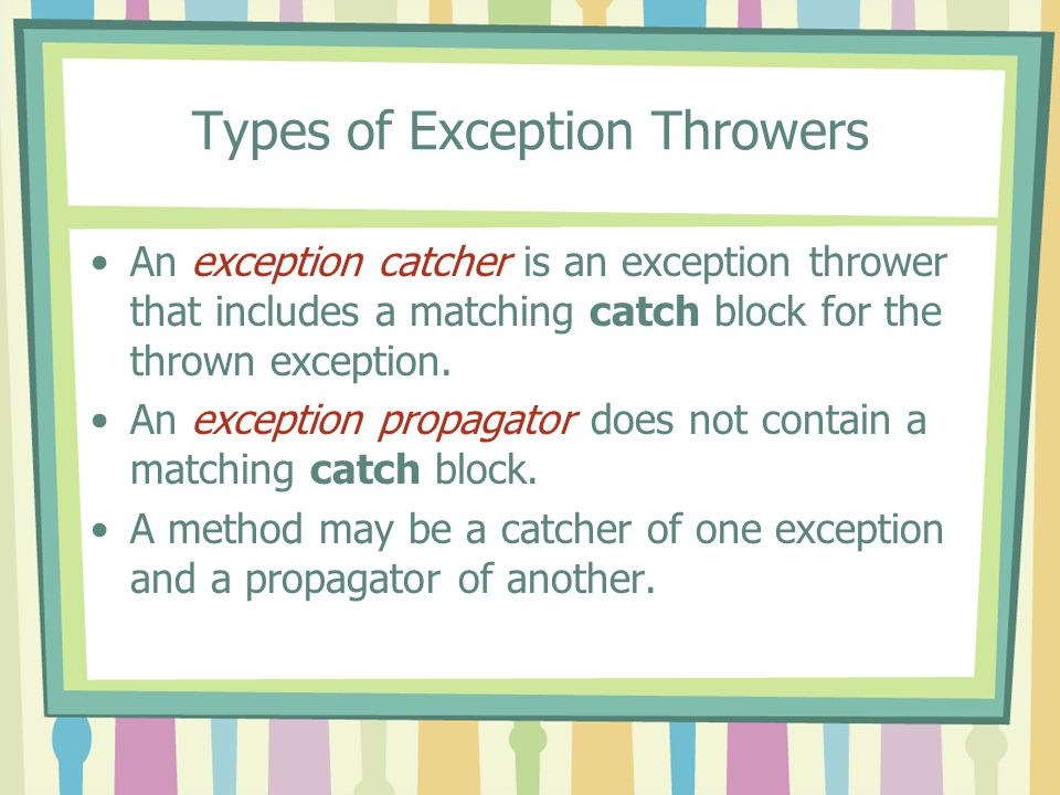 Types of Exception Throwers