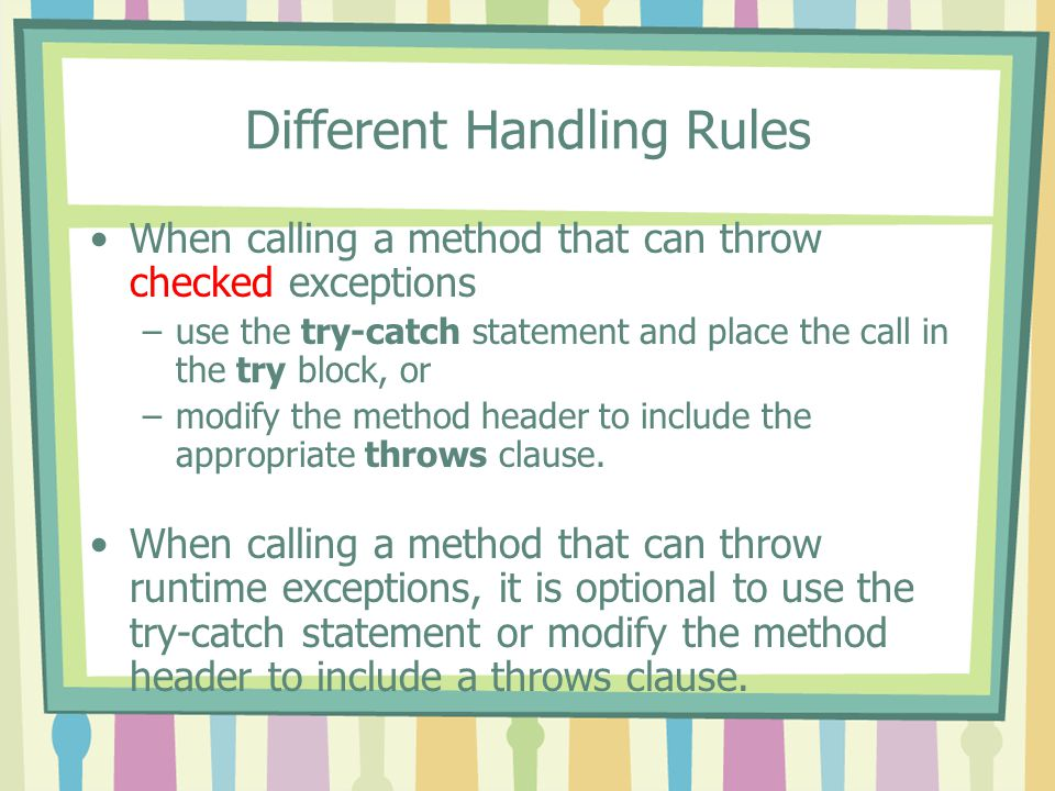 Different Handling Rules