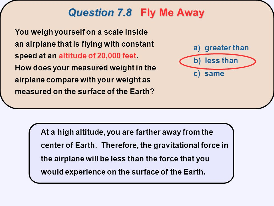Question 7.8 Fly Me Away