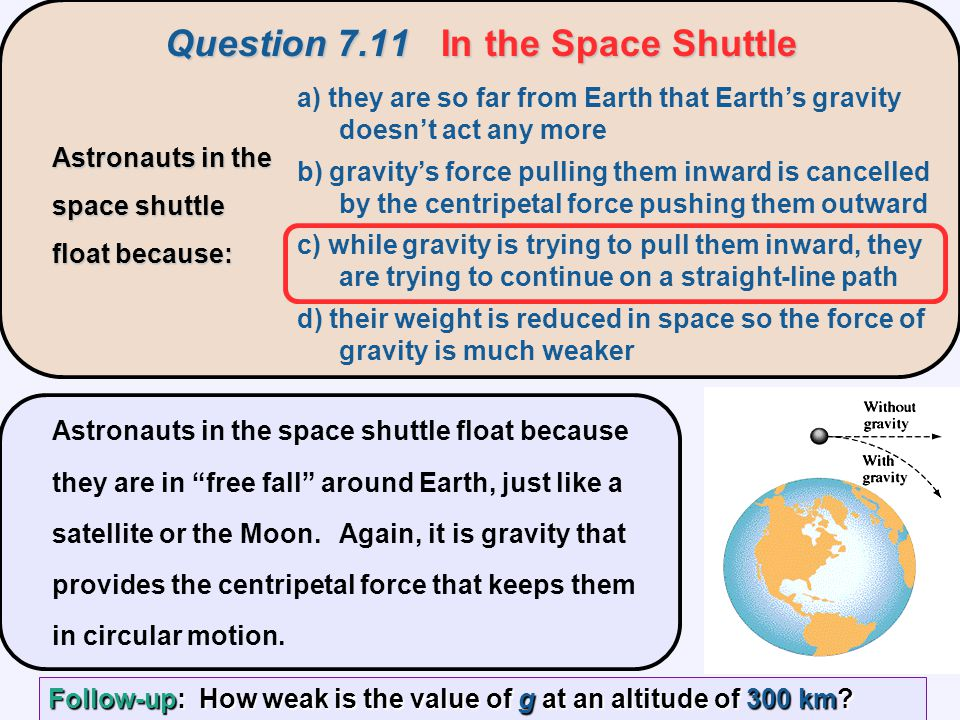 Question 7.11 In the Space Shuttle