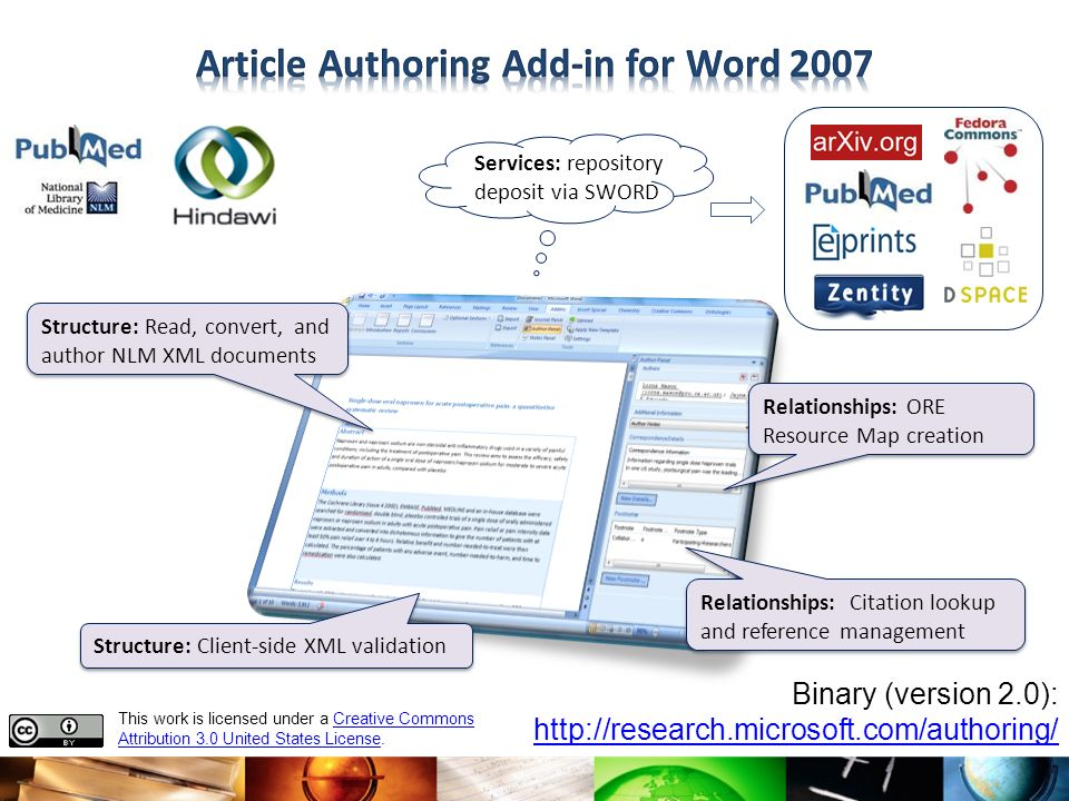 Article Authoring Add-in for Word 2007