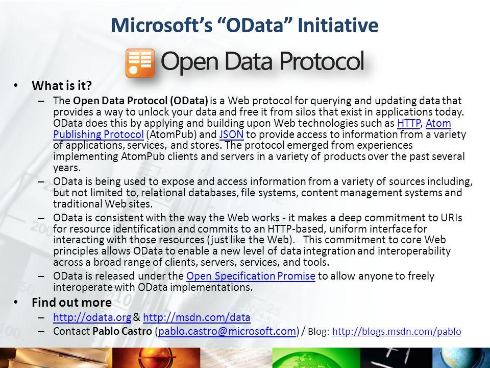 Microsoft's OData Initiative
