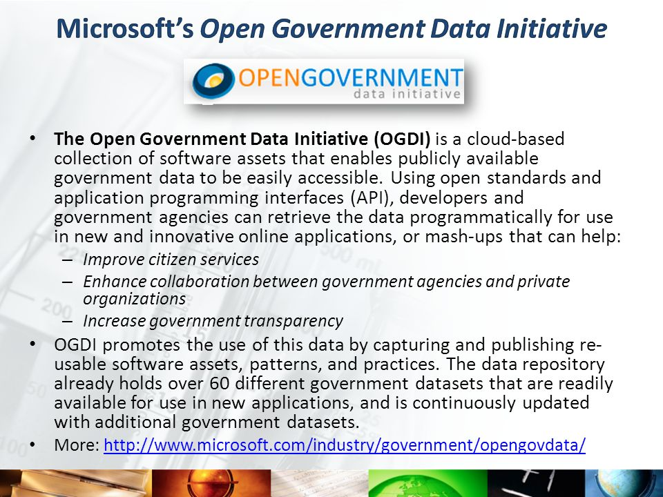 Microsoft's Open Government Data Initiative