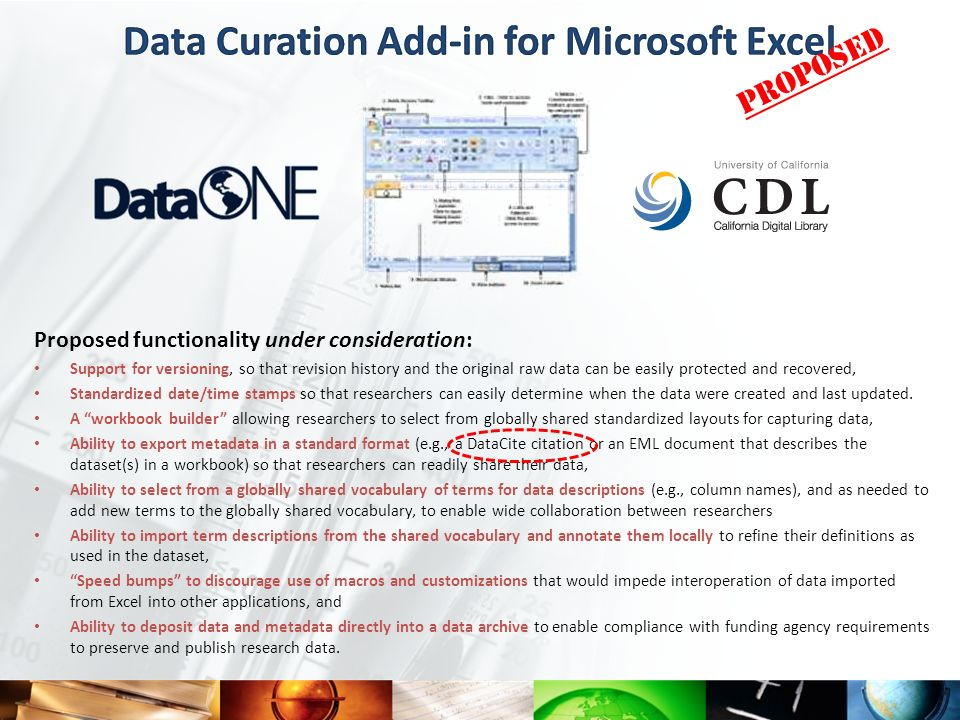 Data Curation Add-in for Microsoft Excel