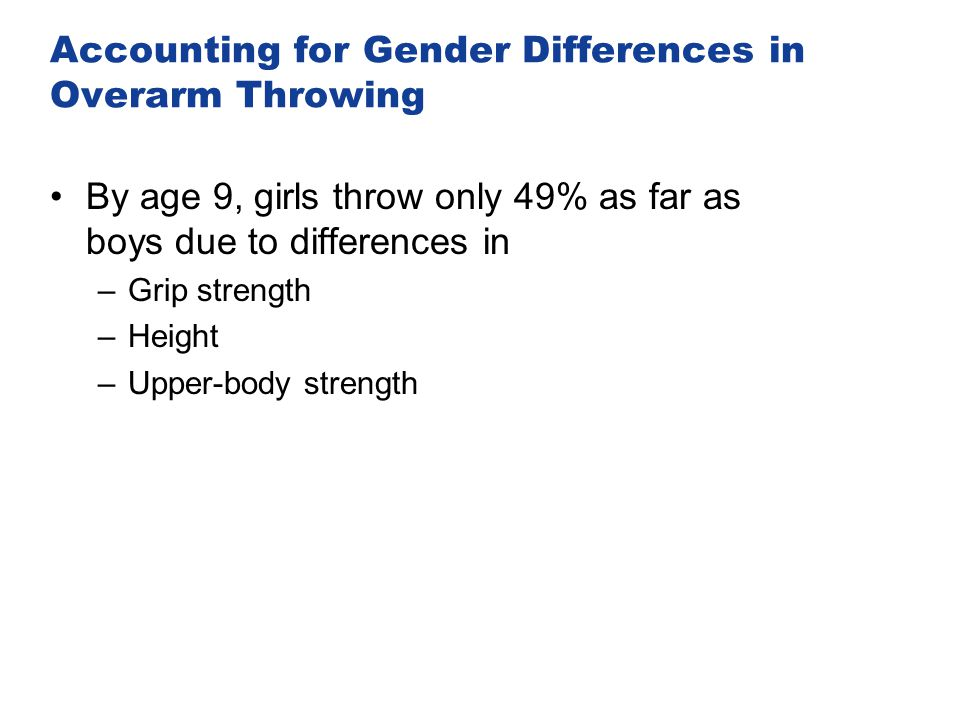 Accounting for Gender Differences in Overarm Throwing