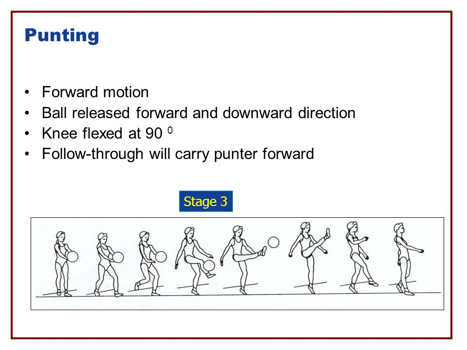 Punting Forward motion Ball released forward and downward direction
