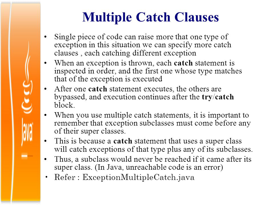 Multiple Catch Clauses