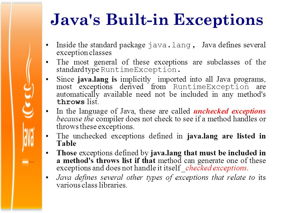 Java s Built-in Exceptions