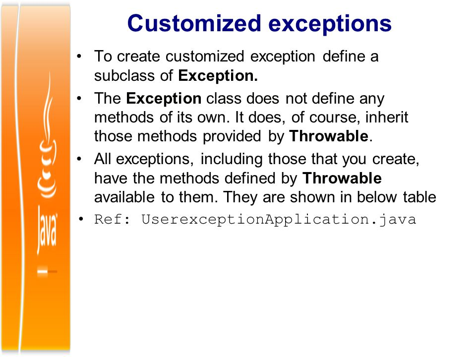Customized exceptions