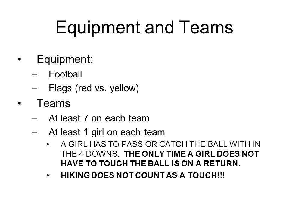 Equipment and Teams Equipment: Teams Football Flags (red vs. yellow)