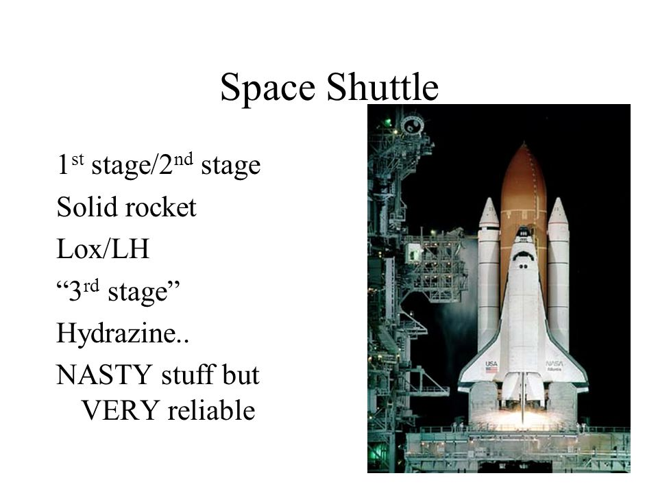 Space Shuttle 1st stage/2nd stage Solid rocket Lox/LH 3rd stage
