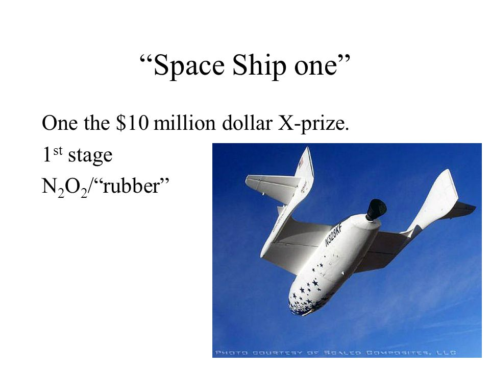 Space Ship one One the $10 million dollar X-prize. 1st stage