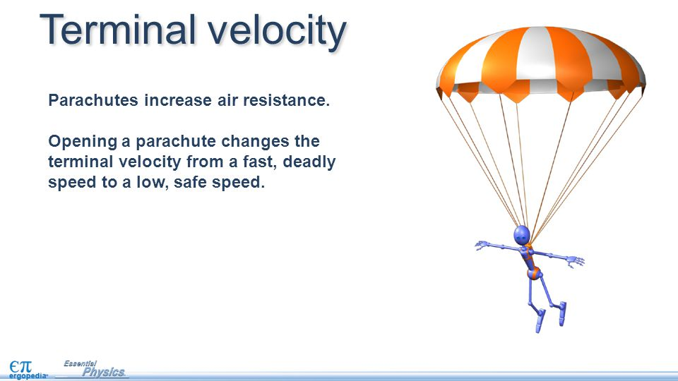 how to calculate free fall speed of a parachute