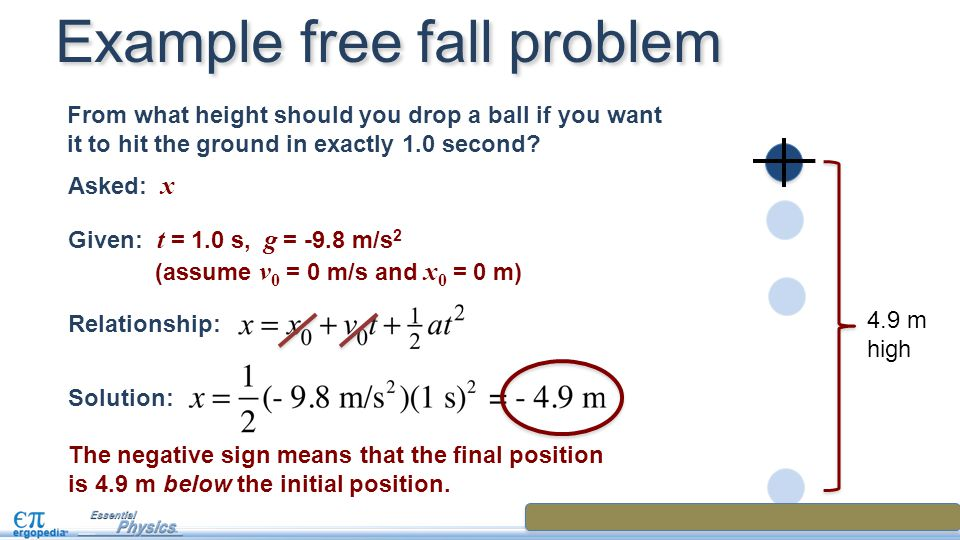 Example free fall problem