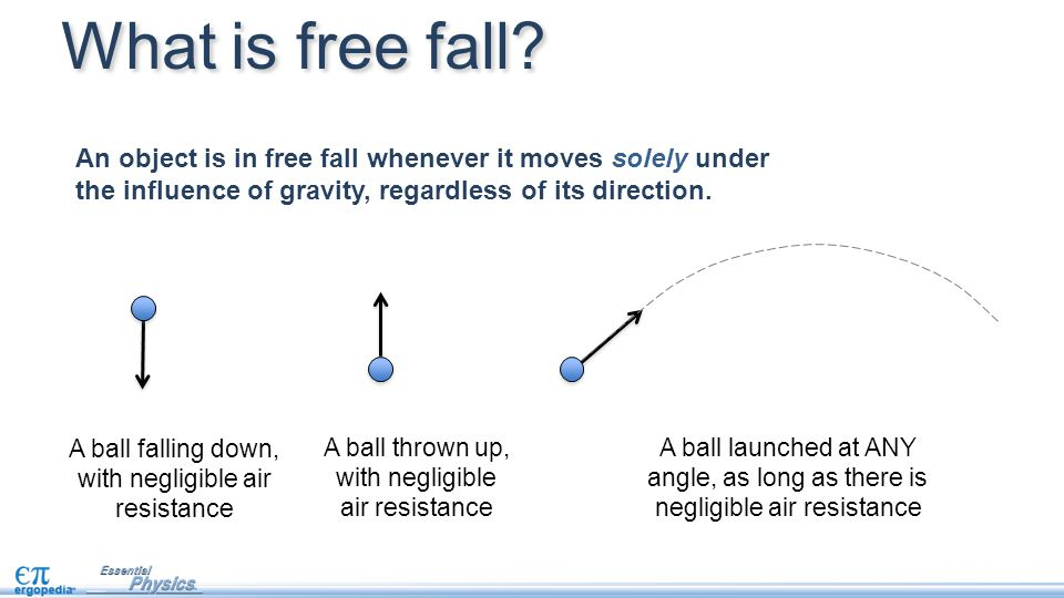 What is free fall An object is in free fall whenever it moves solely under the influence of gravity, regardless of its direction.