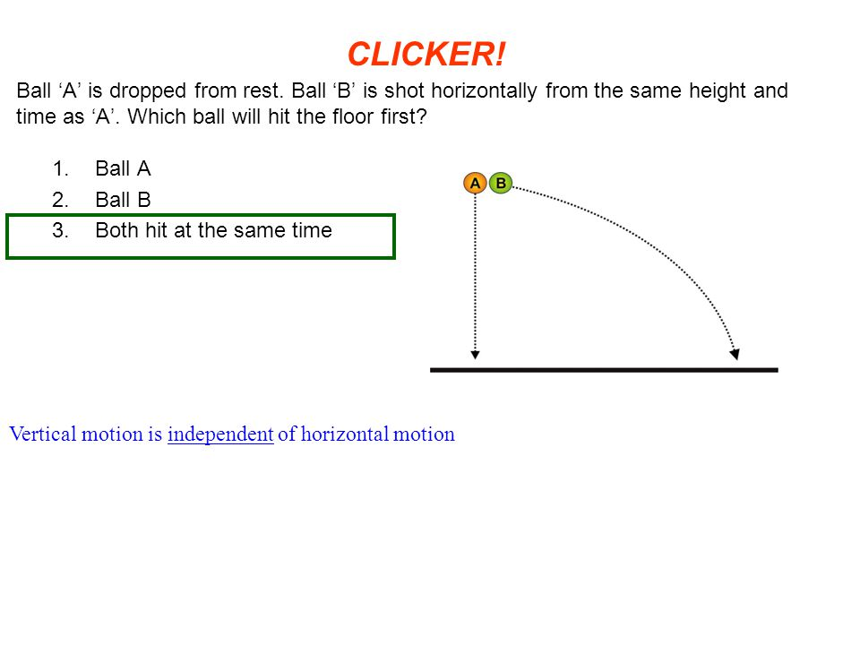 CLICKER! Ball 'A' is dropped from rest. Ball 'B' is shot horizontally from the same height and time as 'A'. Which ball will hit the floor first