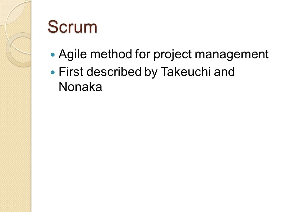Scrum Agile method for project management