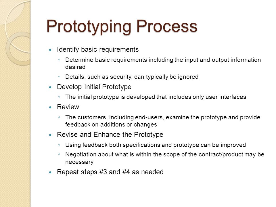 Prototyping Process Identify basic requirements