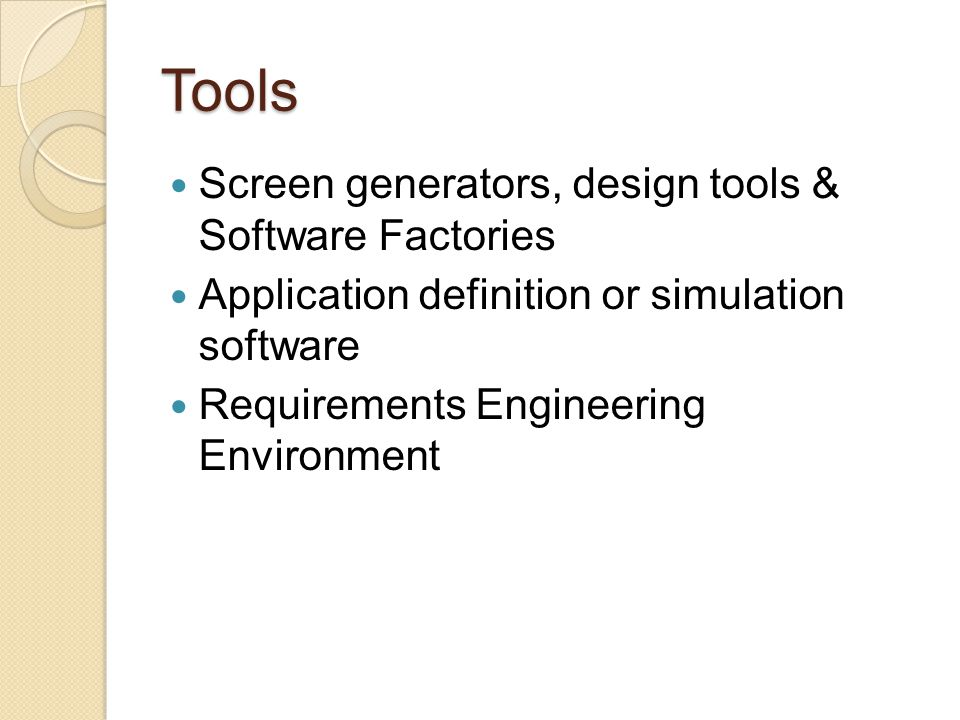Tools Screen generators, design tools & Software Factories