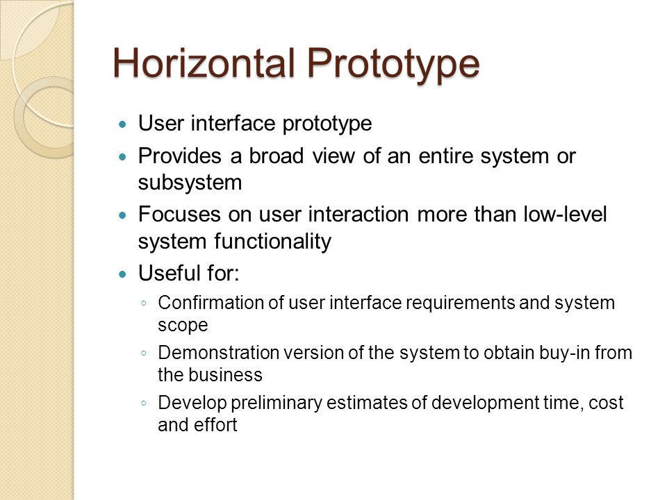 Horizontal Prototype User interface prototype