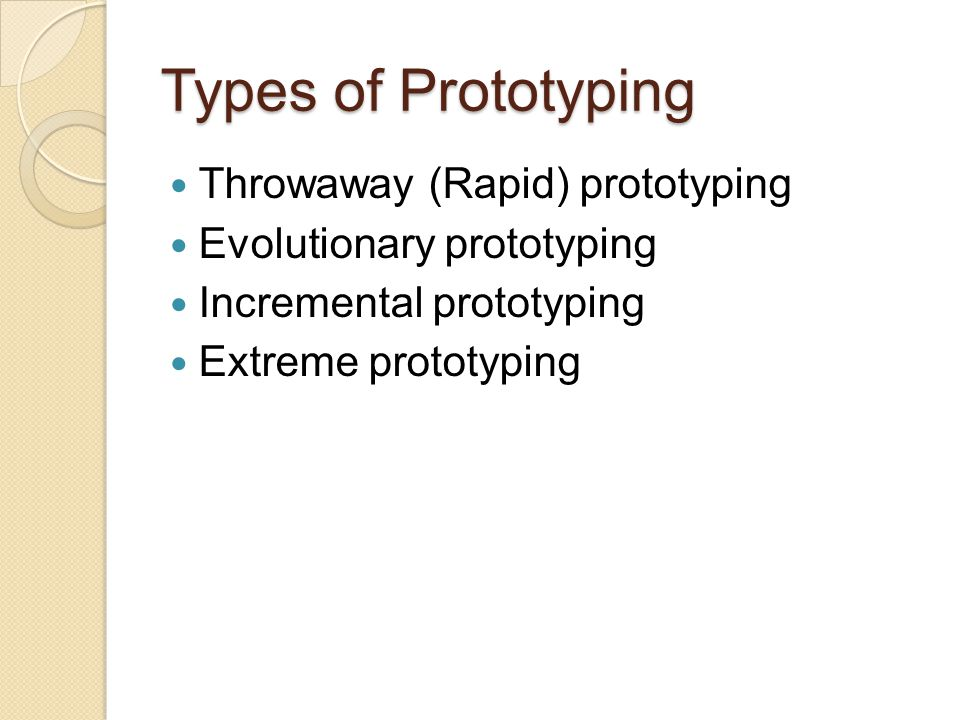 Types of Prototyping Throwaway (Rapid) prototyping