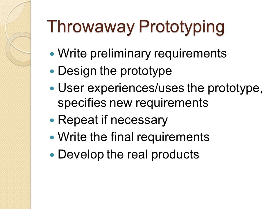 Throwaway Prototyping
