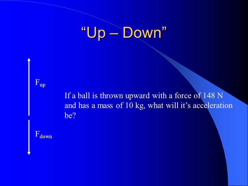 Up – Down Fup If a ball is thrown upward with a force of 148 N
