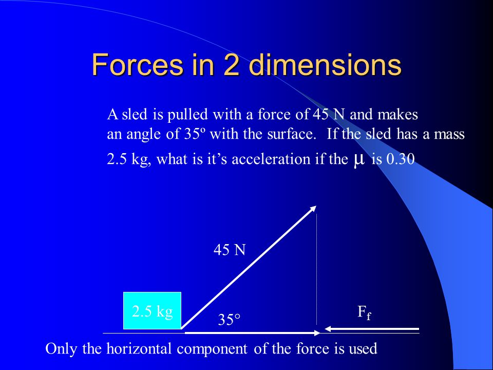 Forces in 2 dimensions A sled is pulled with a force of 45 N and makes