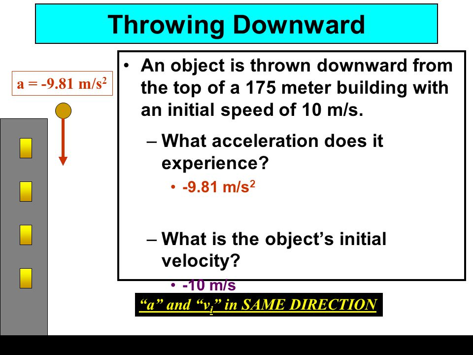 Throwing Downward An object is thrown downward from the top of a 175 meter building with an initial speed of 10 m/s.