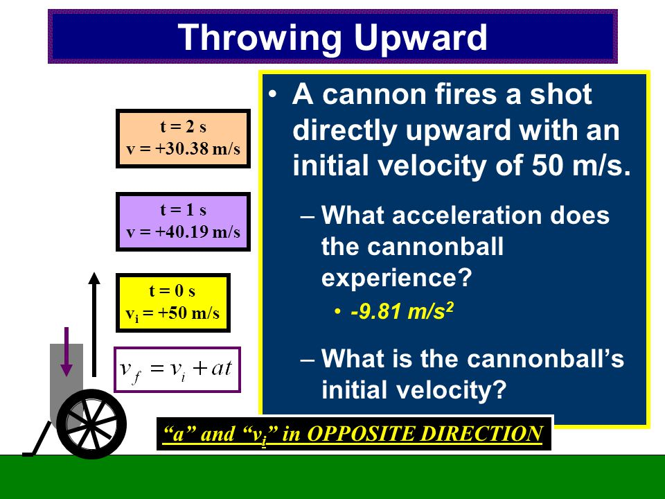 Throwing Upward A cannon fires a shot directly upward with an initial velocity of 50 m/s. What acceleration does the cannonball experience