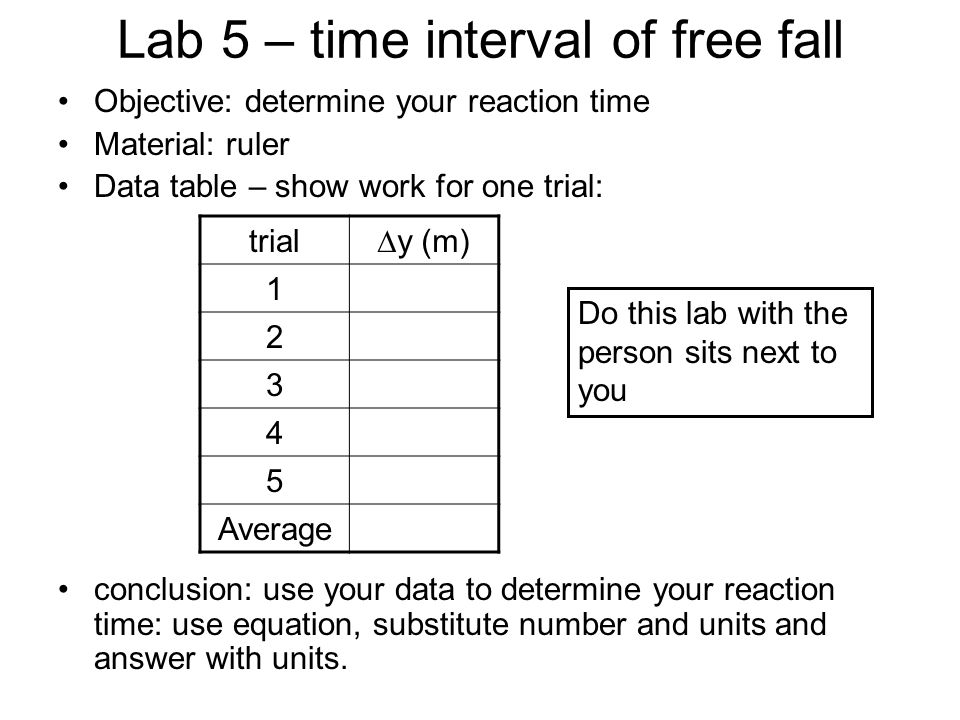 Lab 5 – time interval of free fall