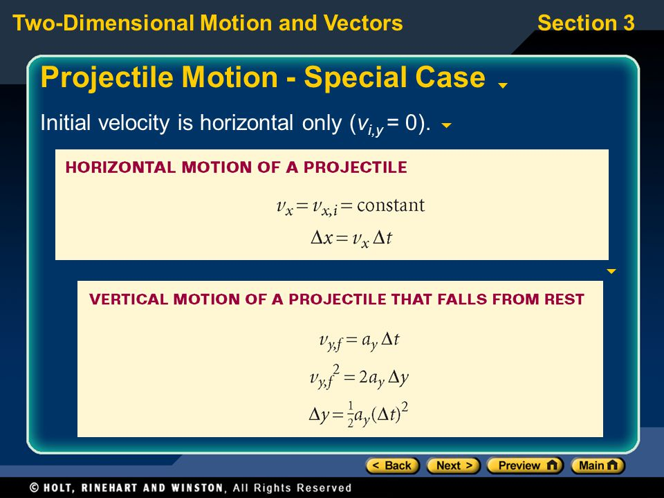 Projectile Motion - Special Case