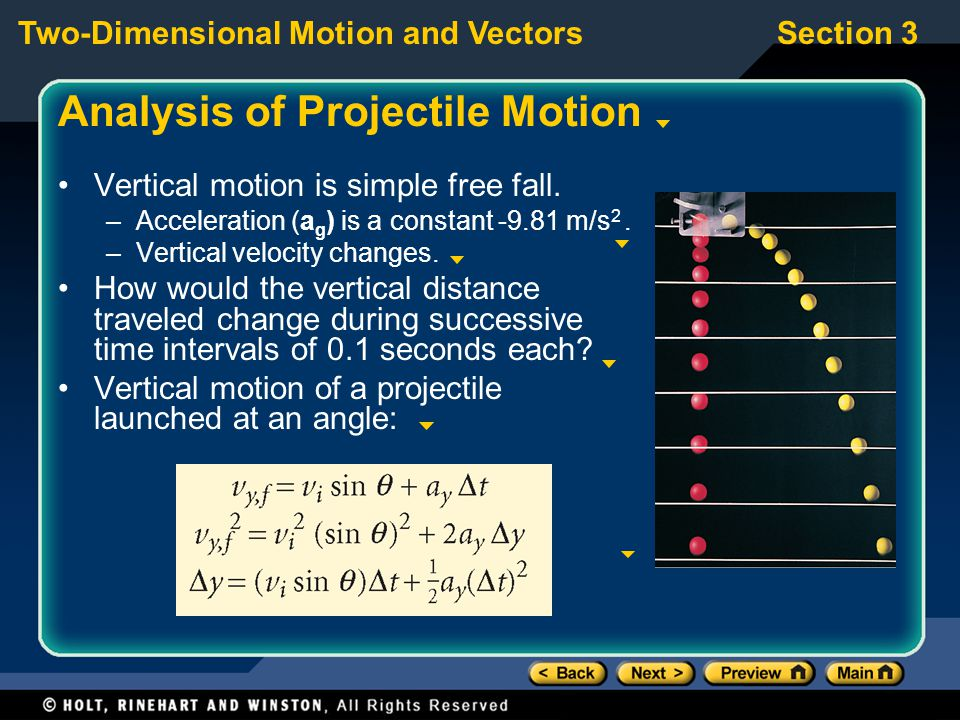 Analysis of Projectile Motion