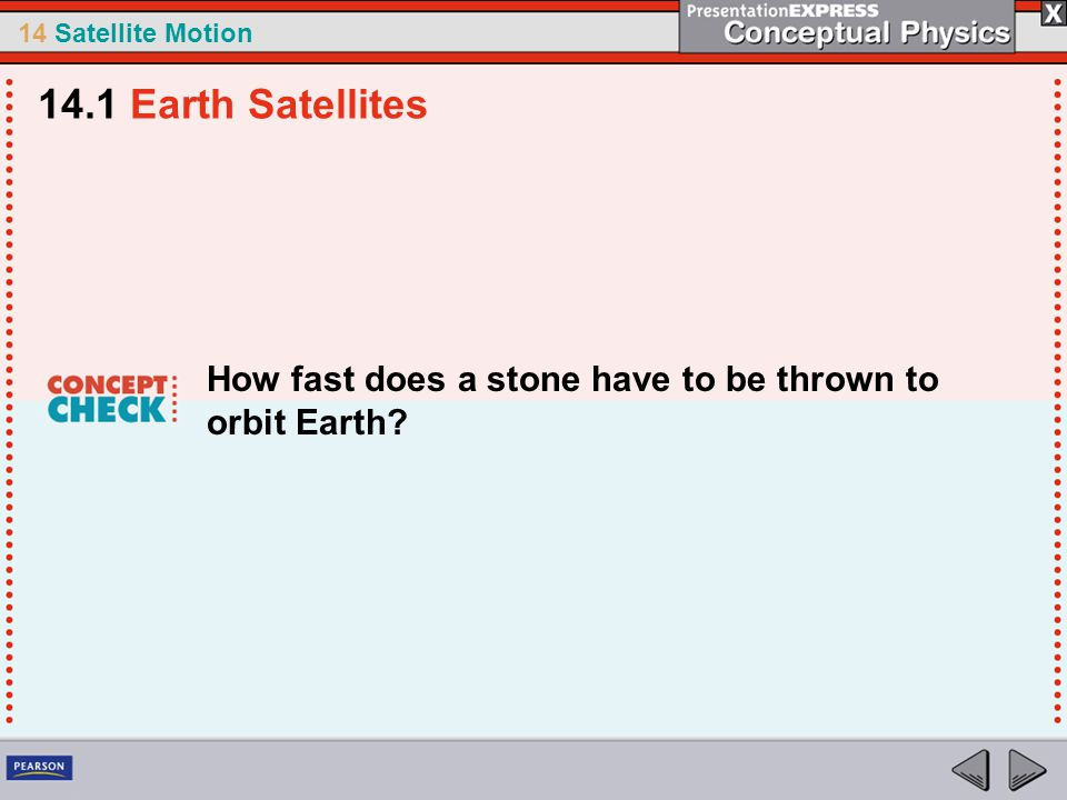 14.1 Earth Satellites How fast does a stone have to be thrown to orbit Earth