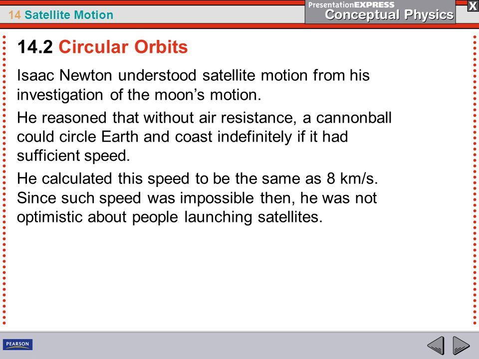14.2 Circular Orbits Isaac Newton understood satellite motion from his investigation of the moon's motion.