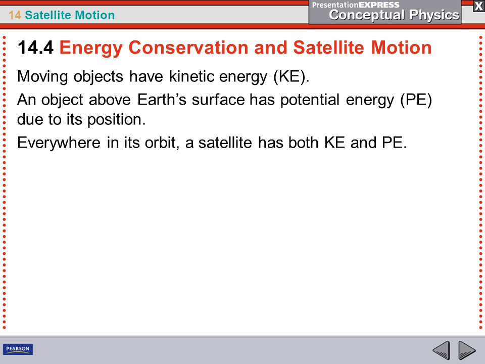 14.4 Energy Conservation and Satellite Motion