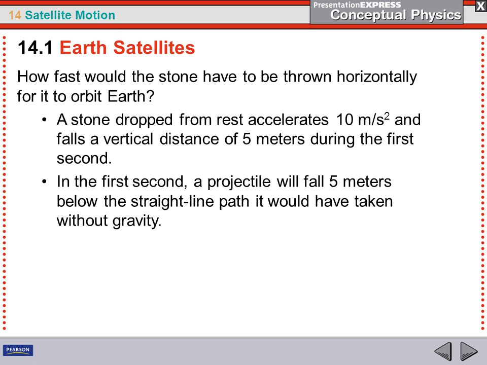 14.1 Earth Satellites How fast would the stone have to be thrown horizontally for it to orbit Earth