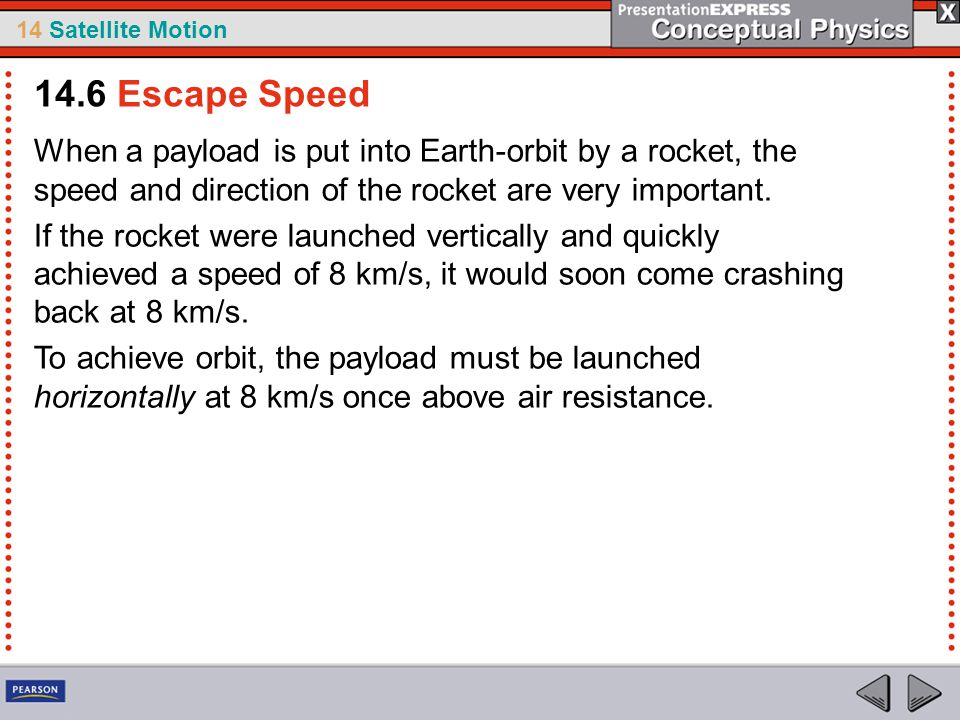 14.6 Escape Speed When a payload is put into Earth-orbit by a rocket, the speed and direction of the rocket are very important.
