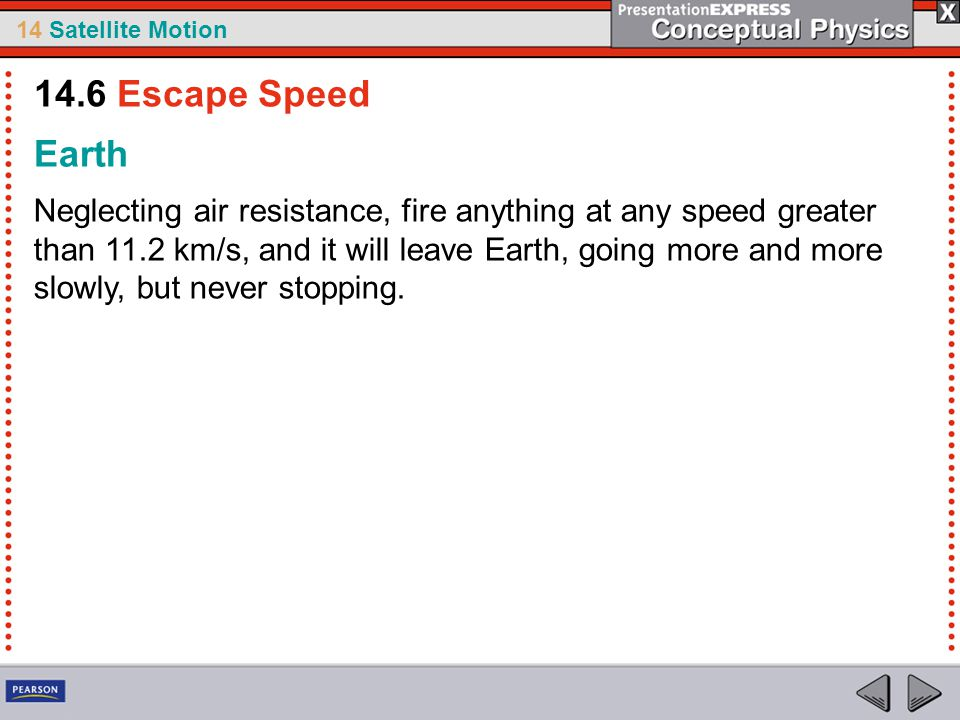 14.6 Escape Speed Earth.