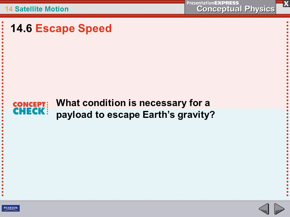 14.6 Escape Speed What condition is necessary for a payload to escape Earth's gravity