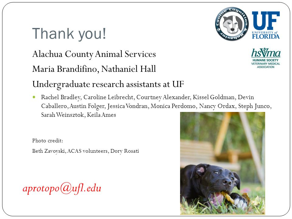 Thank you! aprotopo@ufl.edu Alachua County Animal Services