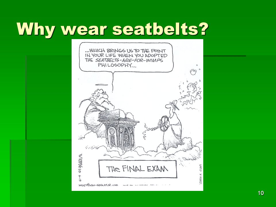 why you have to wear your seatbelt essay It's as sure as day: in a car accident, seat belts save lives learn why wearing a seat belt properly is as important as putting it on for every ride.