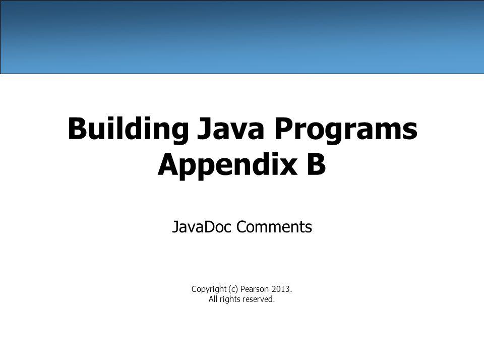 Building Java Programs Appendix B