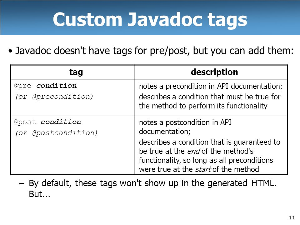 Custom Javadoc tags Javadoc doesn t have tags for pre/post, but you can add them: