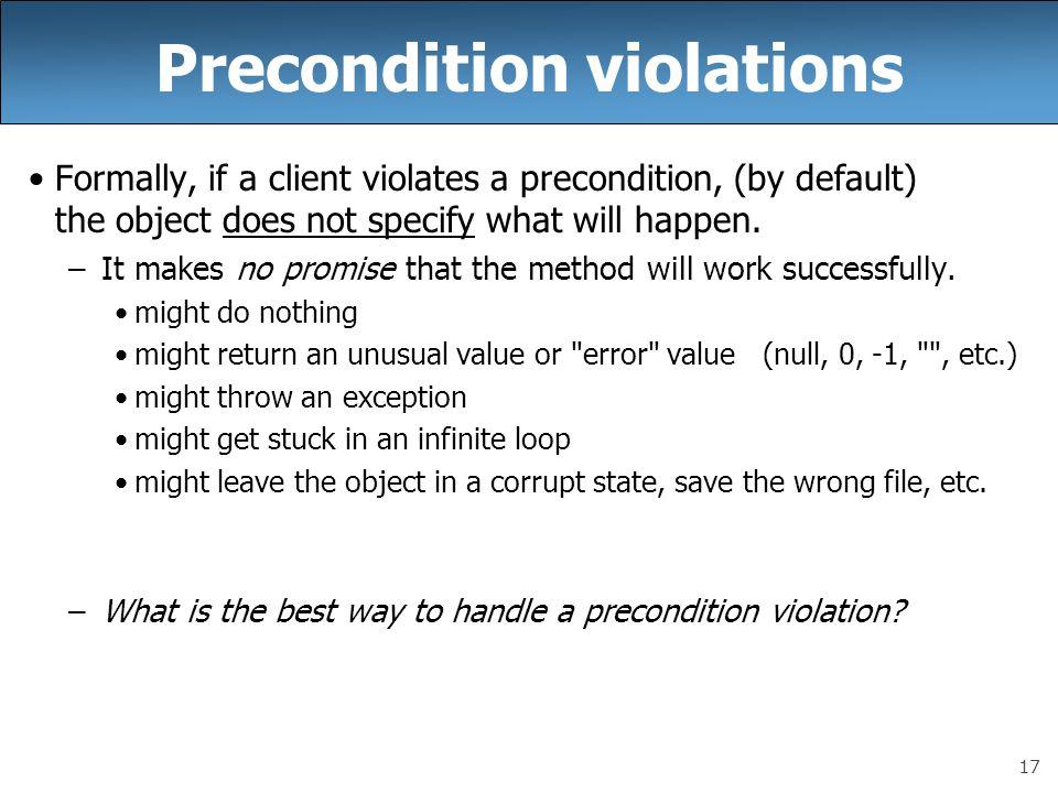 Precondition violations