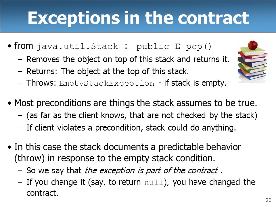Exceptions in the contract